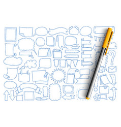 arrows and chat baubles doodle set vector image