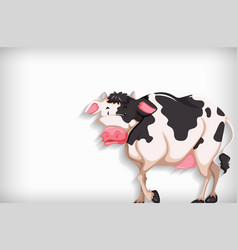 Background template with plain color and cow vector