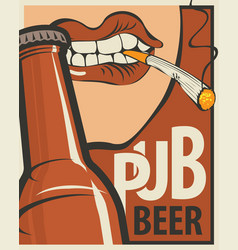 Banner with the mouth opening a beer bottle vector