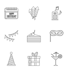 Birthday icons set outline style vector image