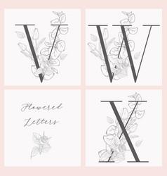 Blooming floral elegant monograms and logos vector