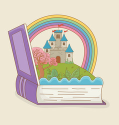 book open with fairytale castle and rainbow vector image