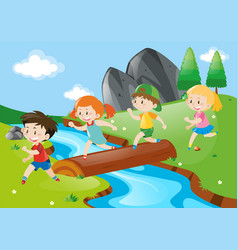 Boys and girls crossing river vector