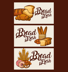 bread fresh banners food delicious vector image