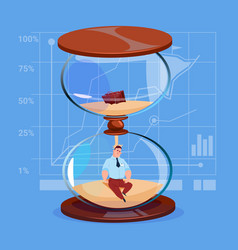 Business man inside sand watch clock deadline time vector