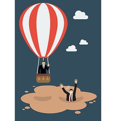 Businessman in hot air balloon get away from vector