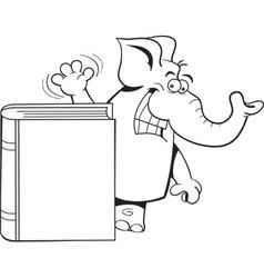 Cartoon elephant standing behind a book vector