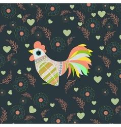 Cock bird ethnic pattern vector image