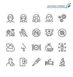 cold and flu prevention line icons vector image