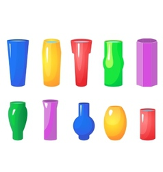 Colorful flowers vases set vector image