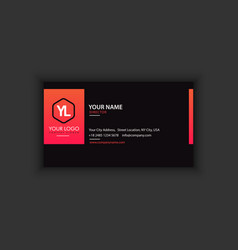 creative and clean business card template black vector image