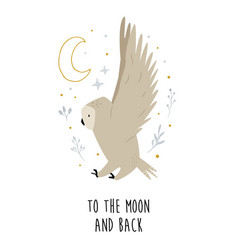 creative poster with a flying owl and decorative vector image