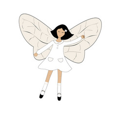 cute cartoon girl with butterfly wings vector image