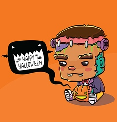 Cute Halloween Character Card - Frankenstein vector image
