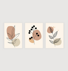 cute set with linear leaves wall art prints vector image