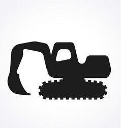 excavator digger silhouette simplified vector image