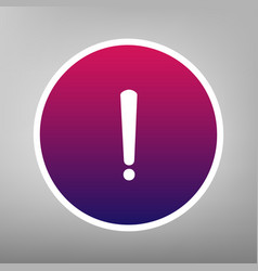 Exclamation mark sign purple gradient vector