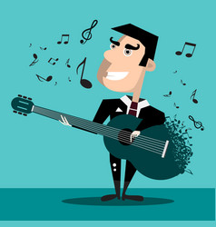 famous singer with guitar and notes music design vector image