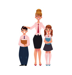 Female teacher and students holding books vector