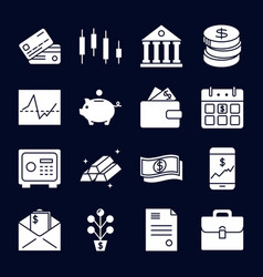 Finance and money silhouette icon collection in vector