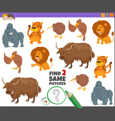 Find two same wild animal characters game for kids vector