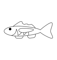 fish seafood symbol in black and white vector image
