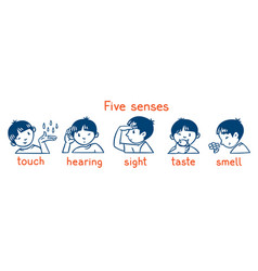Five senses monochrome icon set boys vector