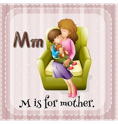 Flashcard alphabet m is for mother vector