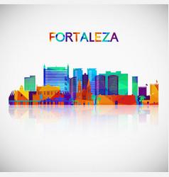 fortaleza skyline silhouette in colorful vector image