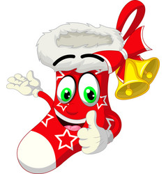 funny red white christmas sock cartoon vector image