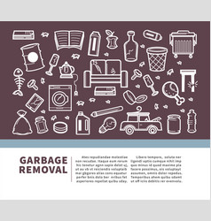 garbage removal informative promo banner with vector image
