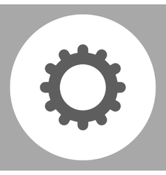 Gear flat dark gray and white colors round button vector