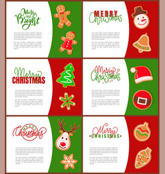 gingerbread man santa claus and pine tree poster vector image