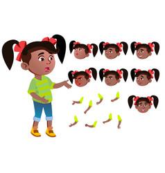 Girl child kid teen black afro vector