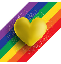 Gold 3d heart on a rainbow striped background vector