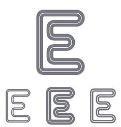 Grey line e logo design set vector image