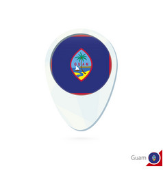 Guam flag location map pin icon on white vector