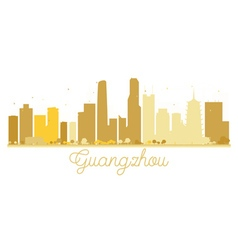 Guangzhou City skyline golden silhouette vector image