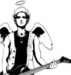 Guitar rock angel vector
