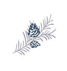 Hand drawn christmas element pine cone vector