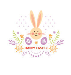 happy easter card design cute easter bunny vector image