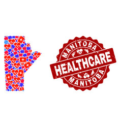 Healthcare composition of mosaic map of manitoba vector
