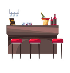 hotel restaurant bar stools champagne and wine vector image