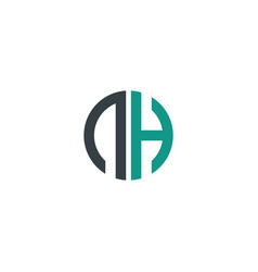 initial letter nh creative design logo vector image