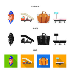 Isolated object airport and airplane icon set vector