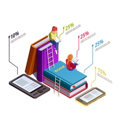 Isometric Reading Infographic vector