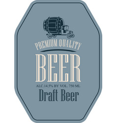 Label for draft beer with truck car in retro style vector