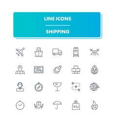line icons set shippin vector image