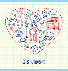 london pen drawn doodles collection vector image