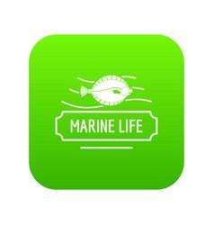 marine life icon green vector image